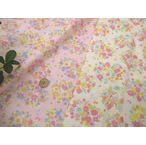 【生地 ダブル(二重)ガーゼ布地】お花のサークルにうさぎさん 191W7
